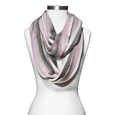 Women's Woven Chevron Stripe Infinity Scarf - Purple