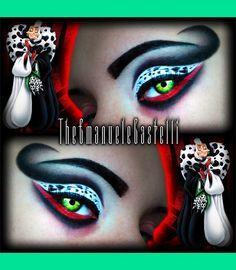 Disney& Villain - Cruella De Vil Make Up Disney Villains Makeup, Disney Eye Makeup, Disney Inspired Makeup, Eye Makeup Art, Ursula Makeup, Fairy Makeup, Mermaid Makeup, Eye Art, Yeux Halloween