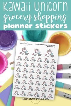 Kennedy the Unicorn Goes Grocery Shopping. Kawaii planner stickers. #planner #stickers #ideas #decorating #DIY #happy #life #aesthetic #inspiration #passion #cute #holiday #hobonichi #sticker #kit #bullet #journal #bujo Kawaii Planner, Time Planner, Best Planners, Planner Supplies, Small Shops, Bullet Journals, Erin Condren, Art Market, Journal Inspiration