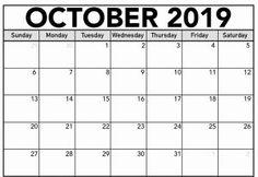 2019 October Calendar Template - Free Printable Calendar, Templates and Holidays Calendar Templates, Free Printable Calendar, Templates Printable Free, Free Printables, October Calendar, 2019 Calendar, Holidays, Holidays Events, Free Printable