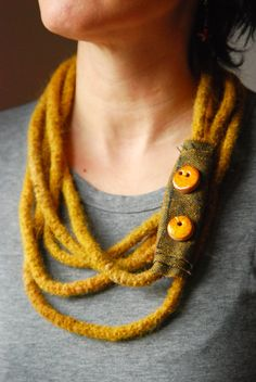 Mustard felted wool statement necklace by robedalez on Etsy