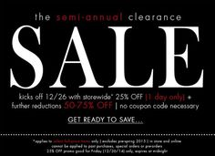 Get ready ladies! Make your way in-store or shop online for a special after Christmas sale! Starting Friday (12/26) everything will be 25% OFF! Plus, even FURTHER reductions off of already amazing deals. You won't want to miss this!