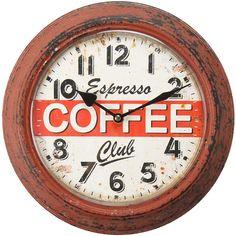 Adeco Coffee Espresso Club Red Iron Retro Wall Clock