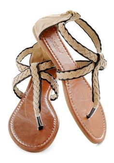 Outdoor Decor Sandal - Tan, Black, Braided, Boho, Summer, Flat, Casual, Beach/Resort, Faux Leather, Strappy