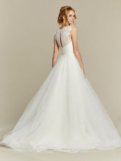 Back View - Hayley Paige 1561 Sunshine  Ivory lace and tulle bridal ball gown, jewel neckline and keyhole back, scallop cap sleeve and full tulle skirt. Also available as a crop top gown (see style 1553, Sunny). Arriving in stores Fall 2015.