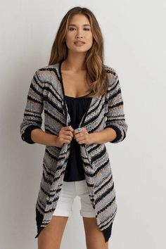AEO Patterned Open Cardigan by AEO | The look of a soft, cozy sweater. The feel of your favorite drapey tee. We've just taken it to a whole new level of cool. Shop the AEO Patterned Open Cardigan and check out more at AE.com.