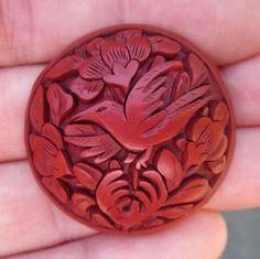 """1&5/16"""" GORGEOUS Antique Carved BIRD & FLOWERS CINNABAR BUTTON"""