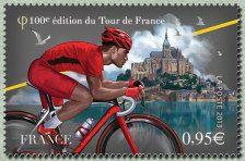Le maillot rouge du plus combatif devant le Mont-Saint-Michel Centième Tour de France - Timbre de 2013