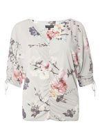 Womens Grey Floral Print Cold Shoulder Top- Grey