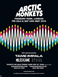 Arctic Monkeys with Jake Bugg, Miles Kane, Royal Blood Marlay Park, Dublin Saturday 12 July 2014 Tame Impala, Bedroom Wall Collage, Photo Wall Collage, Tour Posters, Band Posters, Poster Wall, Poster Prints, Finsbury Park, The Last Shadow Puppets
