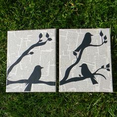 Black and White Painted Birds on Branches Art Canvases