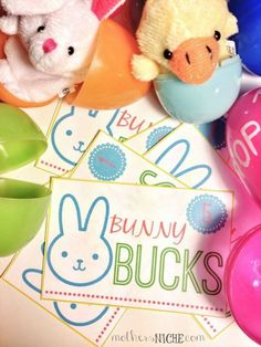 """Bunny bucks to hide in Easter Eggs to be redeemed in the """"Bunny Shop"""" for fun prizes === OR === for potty training incentives around Easter time! Easter Crafts, Holiday Crafts, Holiday Fun, Easter Ideas, Holiday Ideas, Easter Decor, Kid Crafts, Easter Games, Easter Activities"""