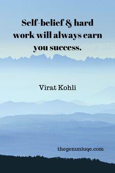 Success quote by Virat Kohli. Virat Kohli Quotes, Cricket Tips, Success Quotes, Work Hard, Self, Hairstyle, Hair Job, Hair Style, Working Hard