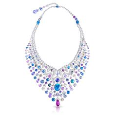 Délices D'Été Necklace features round white diamonds, round and pear shape multi-coloured sapphires and black opals set in 18 carat white gold.