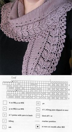 lace knitting scarf free pattern httpmake for spring lace scarf free knitting patterns - PIPicStatsLeaf Lace Scarf with chart. This one, too, is worked like the Baktus shawl or scarf, you do your increases half) and decreases half) where the marker i Crochet Poncho Patterns, Crochet Motifs, Lace Patterns, Knitted Shawls, Crochet Shawl, Crochet Lace, Lace Shawls, Knitting Charts, Knitting Stitches