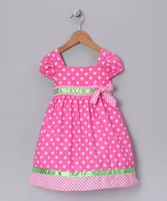 Take a look at this Pink & Lime Polka Dot Dress - Infant, Toddler & Girls by Swirl & Twirl Collection on #zulily today!