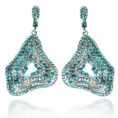 Lemonade Crystal Free Shape Earrings Blue - 4EverBling