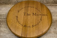 Custom Personalized Engraved Wine Barrel by RockCreekFurnitureCo