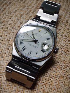New arrival- sharp gent's 1970s Rolex Oysterquartz Datejust. Image- finest hour vintage
