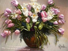Цветы в вышивке лентами. Изумительные работы для вашего вдохновения... фото #2