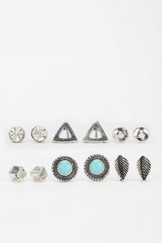 Boho Stud Earring Set- Silver One from Urban Outfitters
