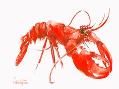 Lobster red original watercolor painting 12 X 9 in от ORIGINALONLY