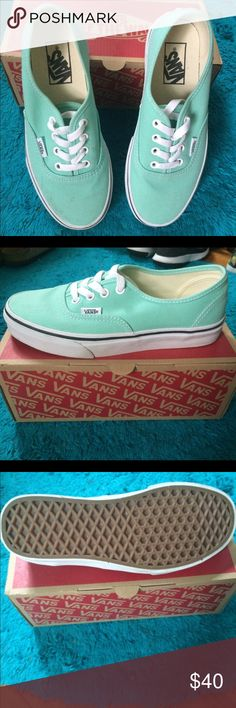 Authentic Beach Glass/ True white Vans for sale! Authentic Beach Glass/ True white vans!       6.5 womens. In great condition, worn once Vans Shoes Sneakers