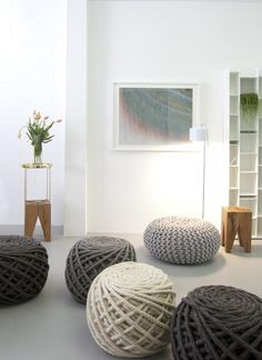 Puffs!!!!! aww, these cute thread ball ottomans are to die for!