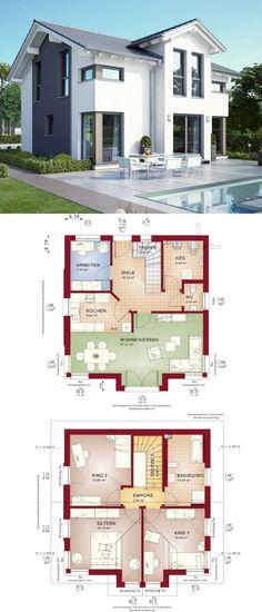 Modernes Fertighaus mit Satteldach - Haus Celebration 125 V8 Bien Zenker - Einfamilienhaus bauen Grundriss modern offene Wohnküche - HausbauDirekt.de