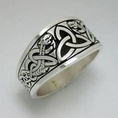 Celtic Triangle Knot with Dragon Style 1 Tapered Signet Ring  - Sterling Silver - All Sizes Available by RARUCOM on Etsy