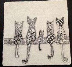 Zentangle cats-greeting card idea