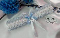 Something blue wedding garter bridal garter lace by BeuBeuDesign