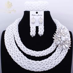 Romantic White African Crystal beads Necklace Set Nigerian Dubai Big Design Jewelry Sets Costume Jewellery set 2017 Party Gift *** AliExpress Affiliate's buyable pin. Click the VISIT button to enter www.aliexpress.com