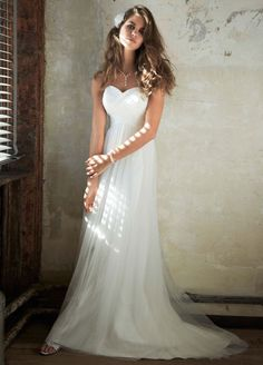 Novelty Sample: Swiss Dot Tulle Empire Waist Wedding Dress - White, 2