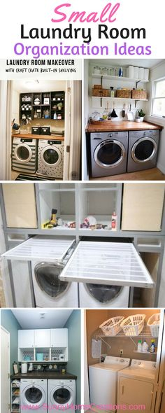 Having a small laundry makes it hard to fit all the clothes organization you want into it. There are some amazing ideas here - like the slide out clothes rack dryer. #laundryroom #laundryroomorganization #laundryroomstorage