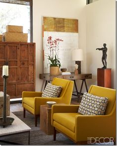 Working with your yellow chair - looks great with the warm browns (re: west elm coffee table)