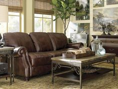 Love the various textures - Leather Bradford Sofa from Hui Chan Bassett Furniture with the Woven wood blinds Dining Room Furniture, Home Furniture, Furniture Shopping, Furniture Ideas, Real Leather Sofas, Leather Furniture, Living Room Designs, Living Spaces, Living Rooms