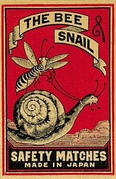 Vintage Matchbox Designs. The bee and snail