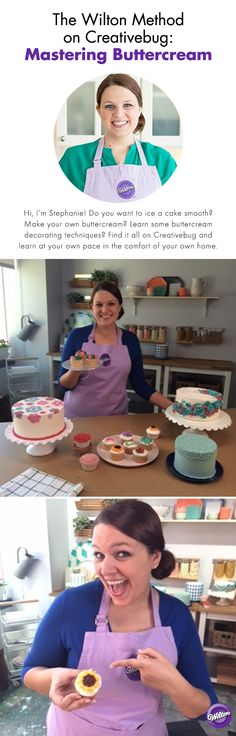 Hi, I'm Stephanie! Do you want to ice a cake smooth? Make your own buttercream? Learn some buttercream decorating techniques? Find it all on Creativebug and learn at your own pace in the comfort of your own home. Here's a behind the scenes look at what it was like for me to film these Wilton Method classes for Creativebug.