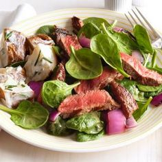 Steak-Spinach Salad With Sour-Cream Potatoes @keyingredient #easy