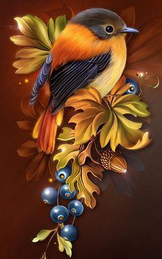 Embroidery Diamond DIY Painting Animals Owl Round Rhinestone Cross Stitch Craft Mosaic Picture Home Decor Needlework China Painting, Tole Painting, Diy Painting, Painting & Drawing, Watercolor Paintings, Pretty Birds, Beautiful Birds, Bird Drawings, Bird Pictures