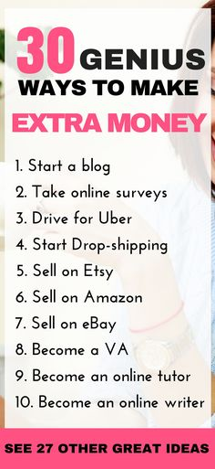 Genius ways to make extra money from home. Whether you're a stay at home mom, retiree, colledge student or just someone looking to increase your income, you will find a suitable way to make money in this post. Click through to read the full post for more information!