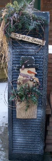 Large shutter Snowman and timer candle Primitive Christmas, Christmas Signs, Country Christmas, Outdoor Christmas, Christmas Snowman, All Things Christmas, Winter Christmas, Christmas Holidays, Christmas Ornaments