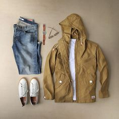 Hot days with scattered showers.Men's Outfit for rainy day