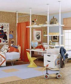 Reoler til opdeling af soveværelse og kontor