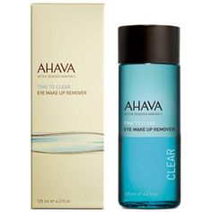 AHAVA Time to Clear Eye Make Up Remover - 4.2 oz this gentle and effective, water and oil bi-phase formula eliminates even the toughest water-proof eye makeup easily without sticky residue. It includes a calming and soothing formula enriched with Aloe Vera, Bisabolol, Calendula & Cucumber extract.