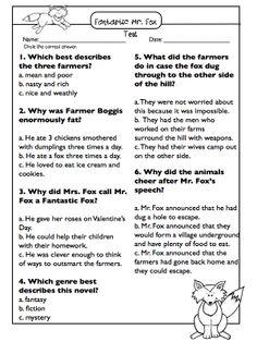 Fantastic Mr. Fox Novel Study & Test