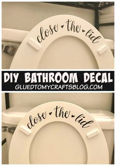 Home Remodel Diy Close The Lid - Bathroom Vinyl Project - Make It With Your Cricut Maker Machine Today - For The Boy Moms.Home Remodel Diy Close The Lid - Bathroom Vinyl Project - Make It With Your Cricut Maker Machine Today - For The Boy Moms Diy Vinyl Projects, Vinyl Crafts, Vinyl Decor, Circuit Projects, Silhouette Vinyl Projects, Stem Projects, Silhouette Cameo, Wood Crafts, Vinyle Cricut