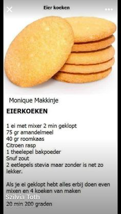 Eierkoeken (koolhydraatarm) Dutch Recipes, Low Carb Recipes, Baking Recipes, Dessert Recipes, Healthy Sweets, Healthy Baking, Healthy Snacks, Happy Foods, Scampi