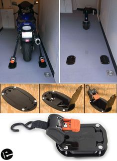 When it's not in use, this tie-down is hidden under the floor in a flush-mount storage unit with a convenient trap door. The ratcheting strap has a quick-release, self-retracting design that simplifies loading and unloading. Cargo Trailer Conversion, Cargo Trailer Camper, Cargo Trailers, Utility Trailer, Work Trailer, Trailer Plans, Trailer Build, Snowmobile Trailers, Motorcycle Trailer